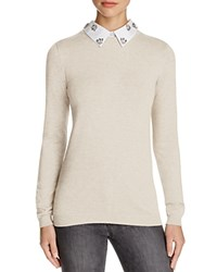 Chelsea And Theodore Embellished Collar Sweater Compare At 89 Oatmeal