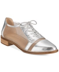 Kelsi Dagger Brooklyn Astoria Lace Up Mesh Oxford Flats Women's Shoes Silver