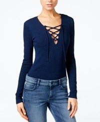 Guess Originals Ribbed Lace Up Bodysuit Indigo