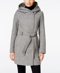 Calvin Klein Petite Asymmetrical Hooded Walker Coat Only At Macy's Grey Plaited