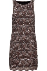 W118 By Walter Baker Alice Embellished Tulle Mini Dress Dark Brown
