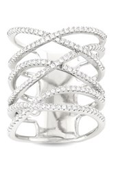 Sterling Silver Pave Cz Elongated X Ring Metallic