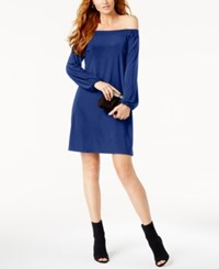 Inc International Concepts Off The Shoulder Shift Dress Created For Macy's Bright Blue