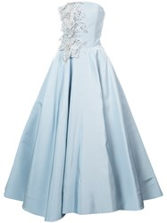 Christian Siriano Embellished Bustier Flared Gown Blue