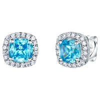 Jools By Jenny Brown Pave Surround Cushion Square Cubic Zirconia Stud Earrings Ocean Blue