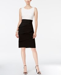 Connected Lace Colorblocked Sheath Dress Black Ivory