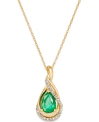 Macy's Emerald 5 8 Ct. T.W. And Diamond Accent Pendant Necklace In 14K Gold