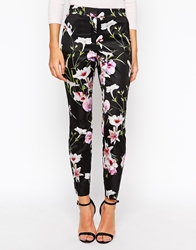 Ted Baker Skinny Pants In Mirrored Tropics Print Black