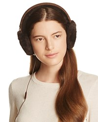 Ugg Classic Shearling Sheepskin Earmuffs With Wired Headphones Chocolate