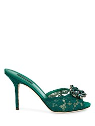 Dolce And Gabbana High Heel Lace Mules With Jewel Embellishment Green