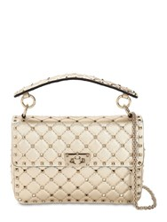 Valentino Garavani Medium Studded Laminated Leather Bag Platinum