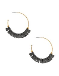 Steve Madden Textured Rectangles Open Hoop Earrings Two Tone