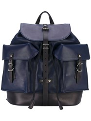 Salvatore Ferragamo Multi Pocket Backpack Men Leather One Size Blue