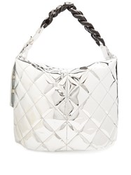 Marques Almeida Oversized Quilted Curb Chain Bag Silver