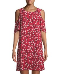 Cynthia Steffe Gravity Ditsy Cold Shoulder Floral Print Dress Radiant Rose
