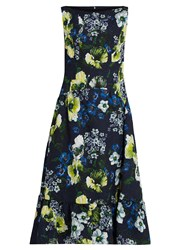 Erdem Heta Hasu Night Print Matelasse Dress Navy Multi