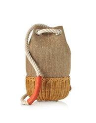 Rodo Handbags Linen And Wicker Midollina Bucket Bag