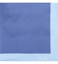 Corneliani Solid Bordered Silk Pocket Square Mid Blue