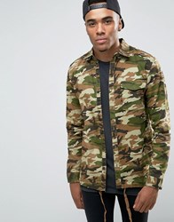 Pull And Bear Pullandbear Shirt Jacket In Camo Print Khaki Green