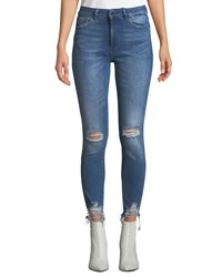 Dl1961 Farrow High Rise Distressed Ankle Skinny Jeans Blue
