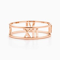 Tiffany And Co. Atlas Open Hinged Bangle In 18K Rose Gold Medium. No Gemstone