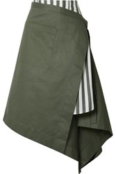 Monse Asymmetric Wrap Effect Striped Voile And Cotton Drill Midi Skirt Army Green