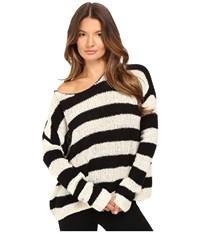 Atm Anthony Thomas Melillo Boat Neck Drop Shoulder Sweater Chalk Black Stripe Women's Sweater