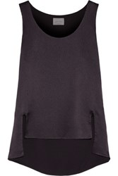 Maiyet Asymmetric Textured Silk Top Dark Purple