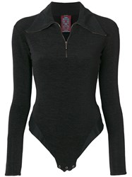 John Galliano Vintage Polo Zipped Bodysuit Black
