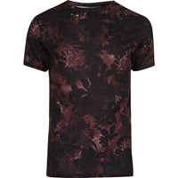 River Island Mens Black And Red Leaf Print Muscle Fit T Shirt