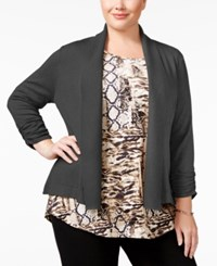 Jm Collection Plus Size Ruched Sleeve Cardigan Only At Macy's Charcoal Heather