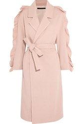 Mother Of Pearl Bexley Ruffled Wool Blend Coat Pink