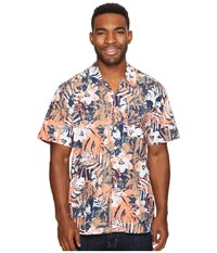 Columbia Trollers Best S S Shirt Bright Peach Botanical Fish Men's Short Sleeve Button Up Multi