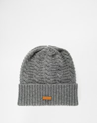 Fred Perry Filey Gansey Beanie Hat In Lambswool Grey