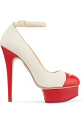 Charlotte Olympia Kiss Me Dolores Leather Trimmed Suede Platform Pumps Ivory