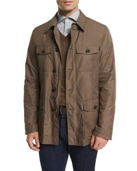 Ermenegildo Zegna Button Down Safari Jacket Beige