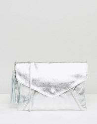 Asos Leather Envelope Cross Body Bag With Tassel Silver
