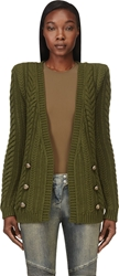 Balmain Green Heavy Knit Structured Shoulder Cardigan
