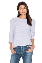 White Warren Weaved Crew Neck Sweater Blue