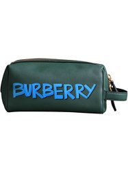 Burberry Graffiti Print Leather Pouch Green