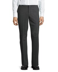 Dkny Wool Blend Straight Leg Trousers Gray