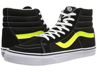 Vans Sk8 Hi Reissue Neon Leather Black Neon Yellow Skate Shoes