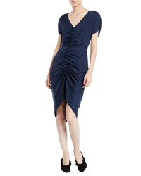 Milly Alexa Stretch Silk Ruched Front Dress Navy