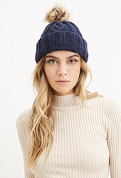 Forever 21 Cable Knit Pom Beanie Navy Taupe
