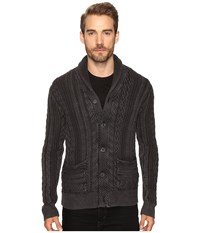 Lucky Brand Snowpeak Cable Shawl Cardigan Sweater Jet Black Men's Sweater