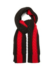 Alexander Mcqueen Cable Knit Cashmere Scarf Black