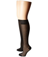 Steve Madden 2 Pack Crochet Knee High Black Black Women's Knee High Socks Shoes