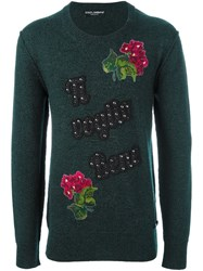 Dolce And Gabbana Embellished Jumper Green