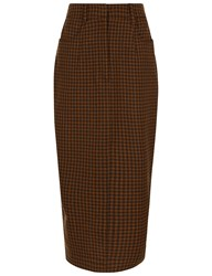 Isa Arfen Houndstooth Pencil Skirt In Camden Brown