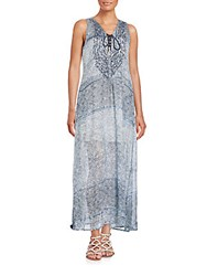 Saks Fifth Avenue Lace Front Printed Maxi Dress Blue